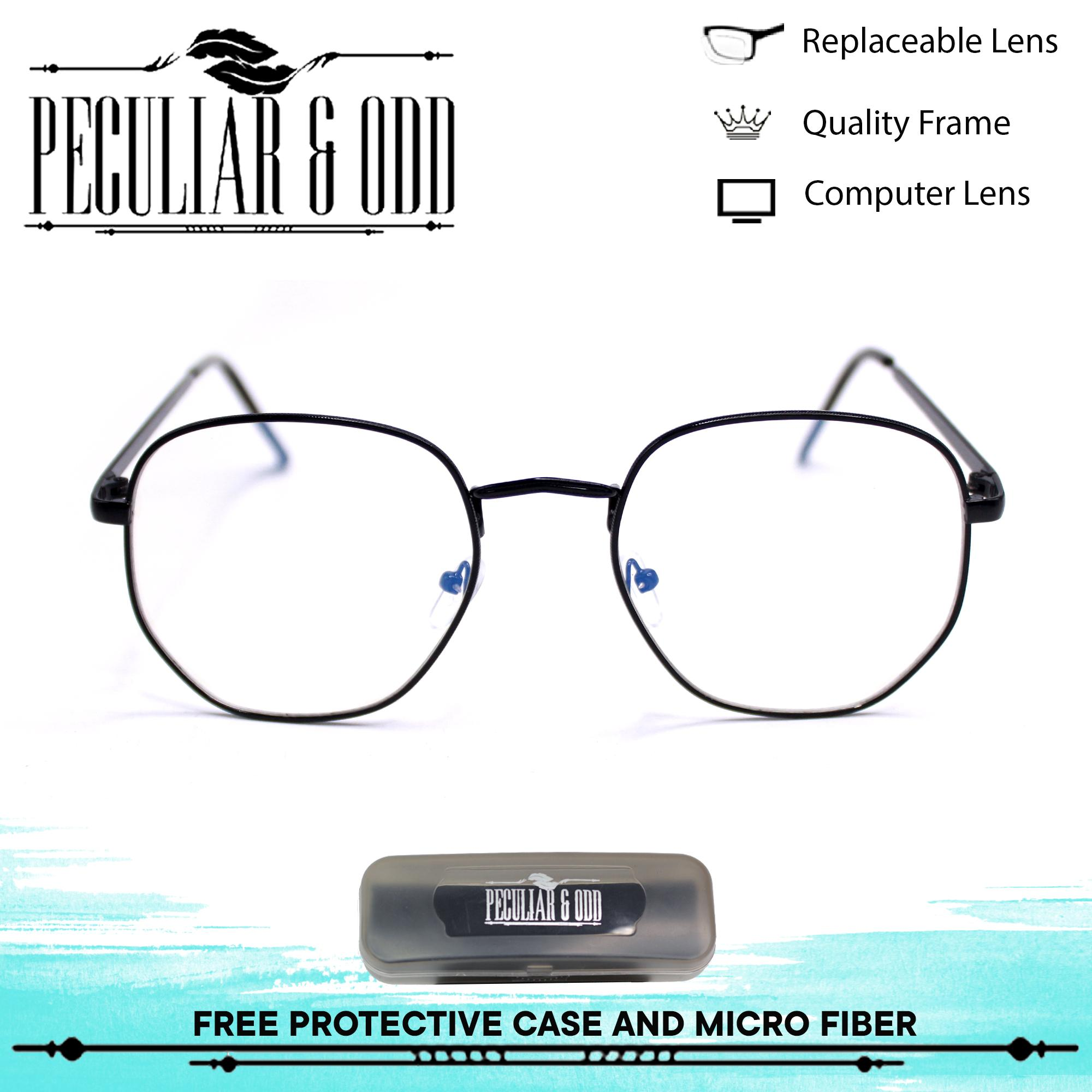 2b6e8102516 Peculiar Square 3449 BlackClear Anti Radiation Clear Blue Lens Computer  Eyeglass in Black Metal Frame with Optical
