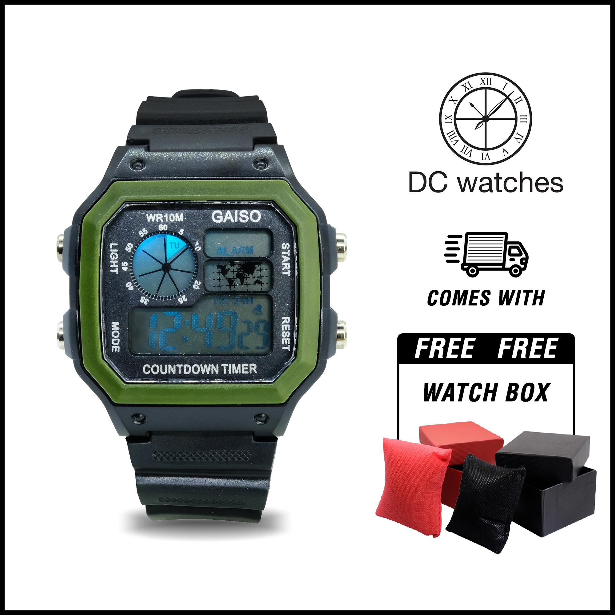 NEW Gaiso Collection DC Watches watch Sports Watches 30M water resist Back Light LED Digital Watch Chronograph Shock Wristwatches World Time  wristwatch flash sale WR10M 1 eyes 92A