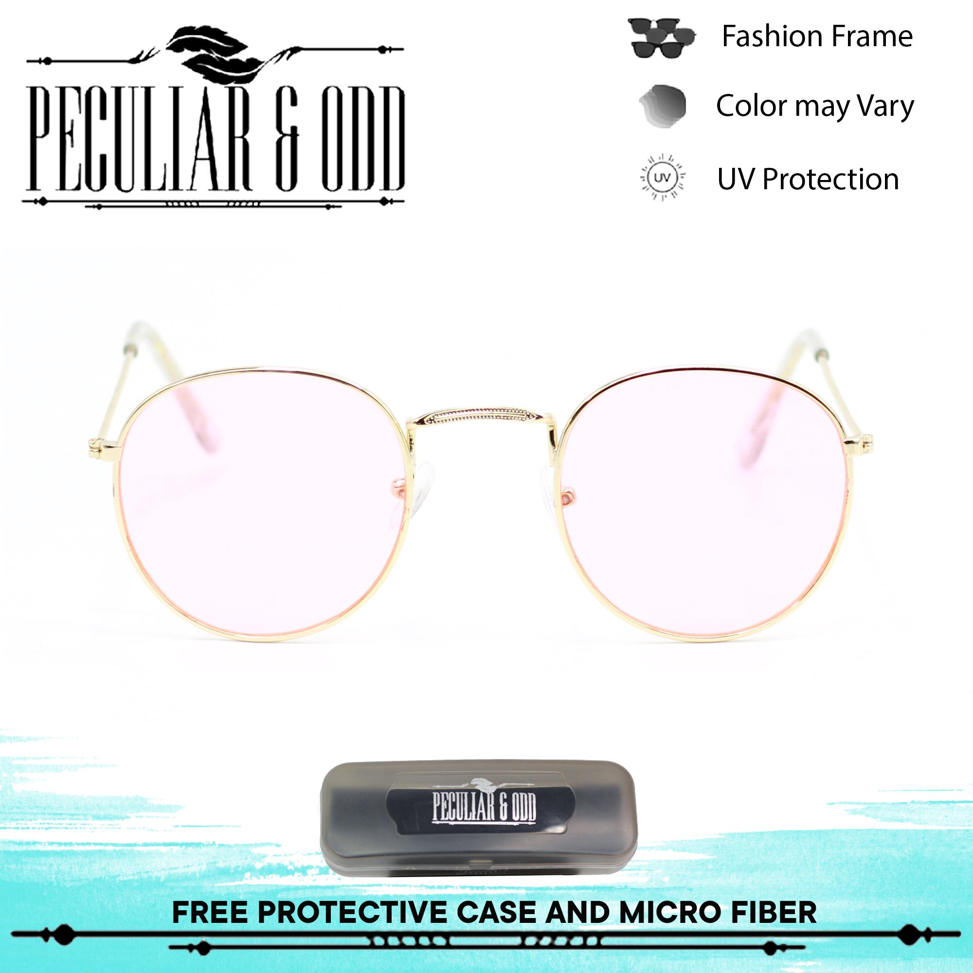 5dc015768b Peculiar Round 3447 GoldTransPink in Gold Frame and TransPink Flash Lens  Sunglasses in Lightweight Metallic Frame Unisex