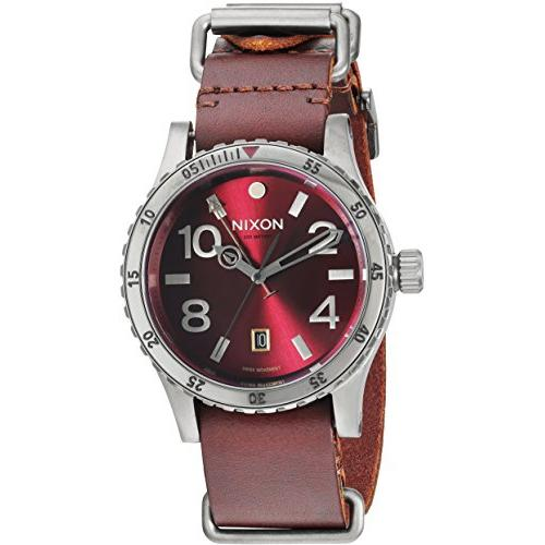 ff2452699 Nixon Men's 'Diplomat' Swiss Quartz Stainless Steel and Leather Watch,  Color:Red