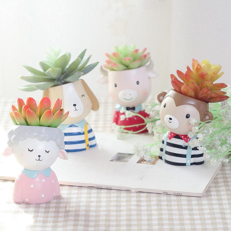 Creative Flower Pot Cartoon Flower Pot Resin Planter Flower Fleshy Flower Pot Flower Desktop Home Garden Home Decoration