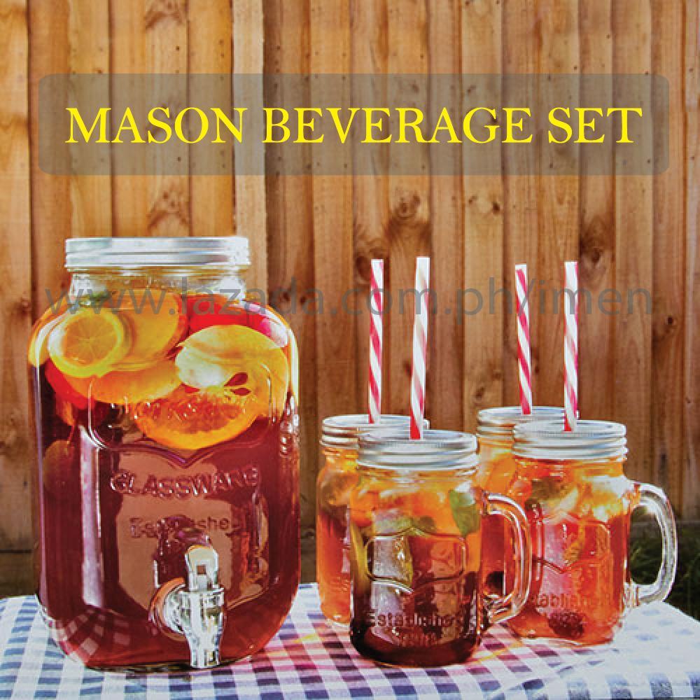 "MASON BEVERAGE SET "" With 1pc 4L glass dispenser, 4pcs 480ml Mason drinking jars · """