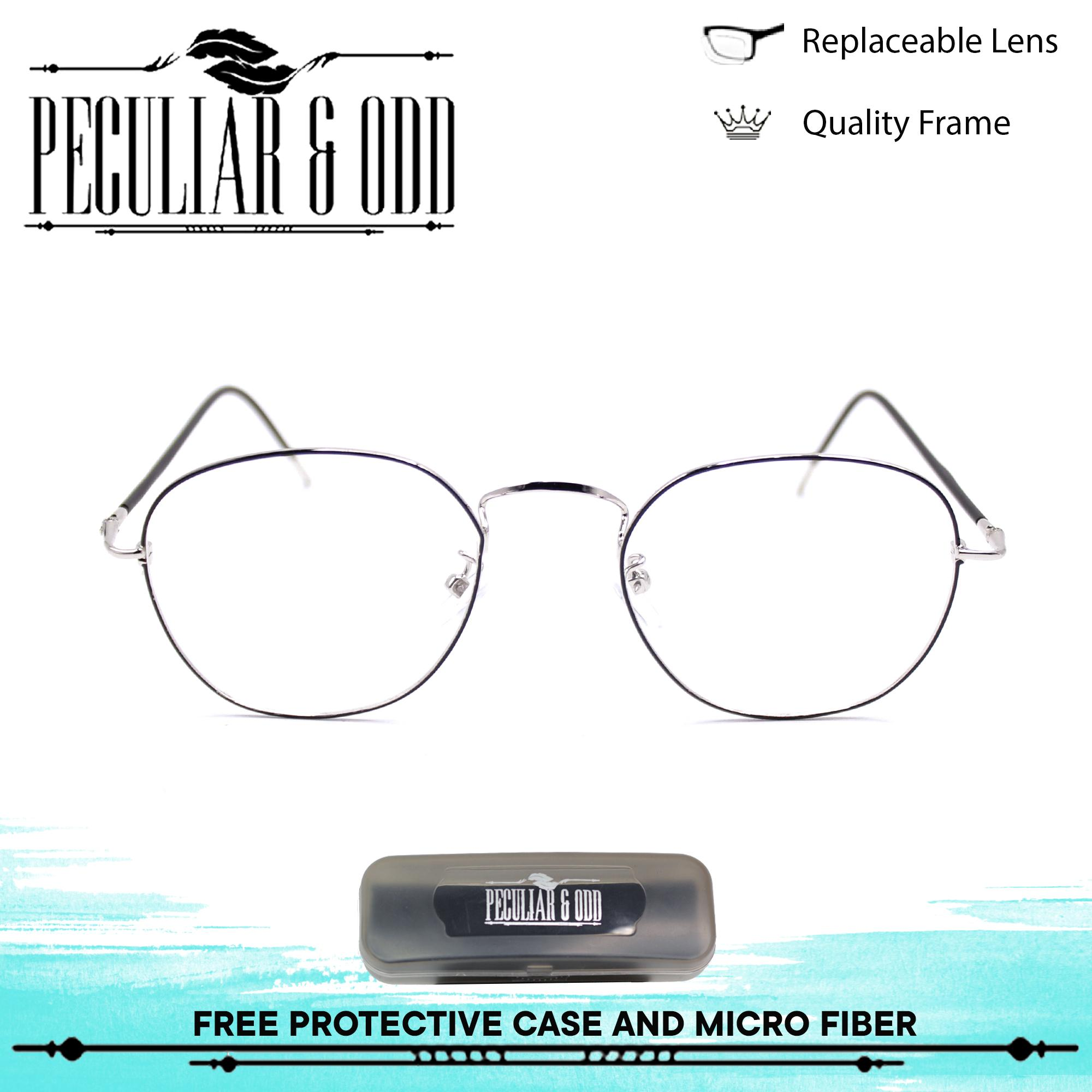 Peculiar Premium Round Eyeglasses 9959_SilverBlack in Aircraft Aluminum Alloy Replaceable Optical Lens Unisex Eyewear