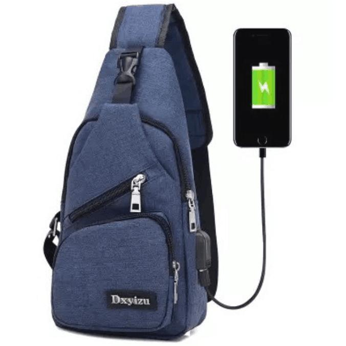 Men's Anti Theft Chest Sling Bag With Usb Port For Powerbank Men Crossbody Bag Sling Bag Slim Fit Bag By Ef-Fashion.