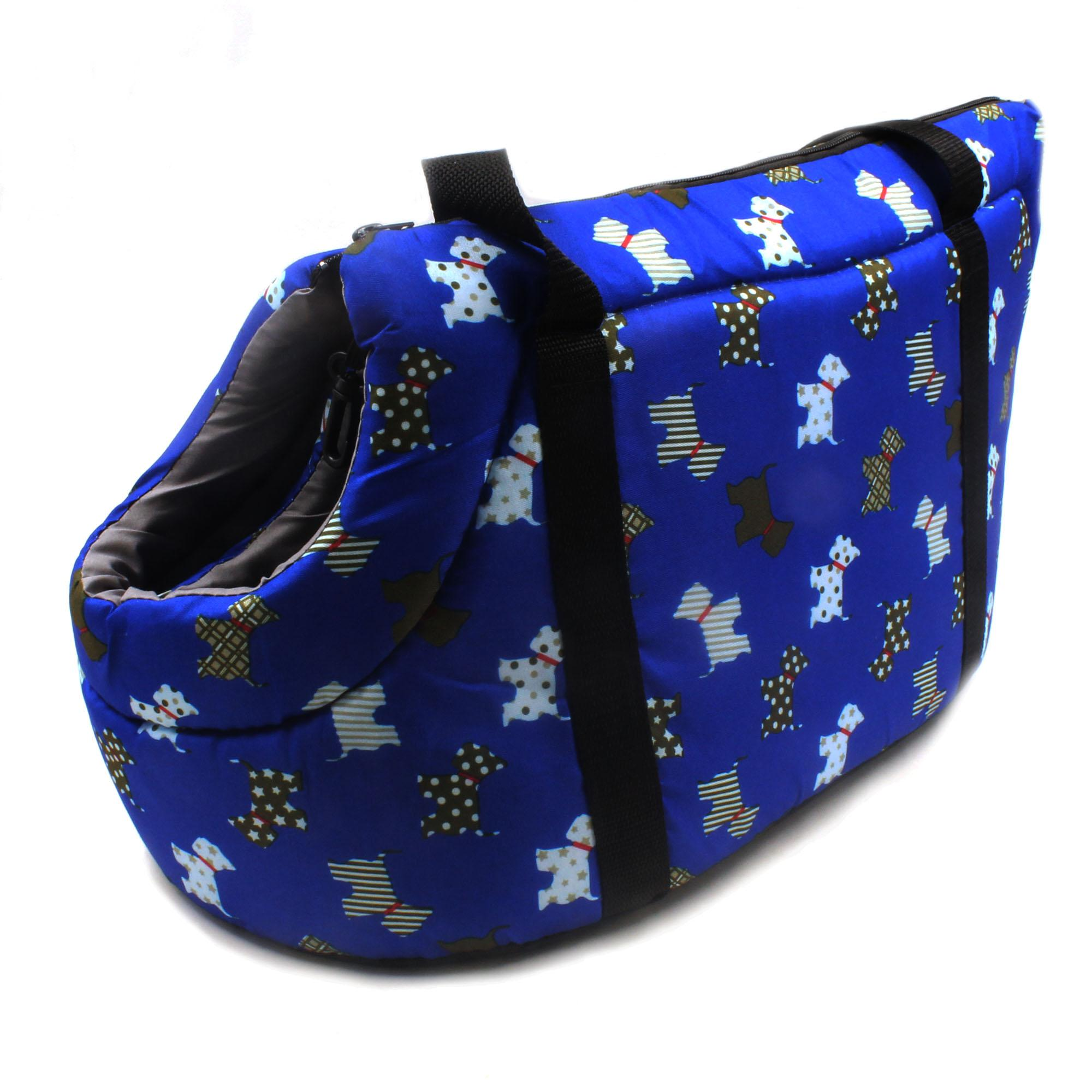 55302b37482 Digisoria Nunbell Pet Dog Travel Carrier Dog Pattern Small (Dark Blue)