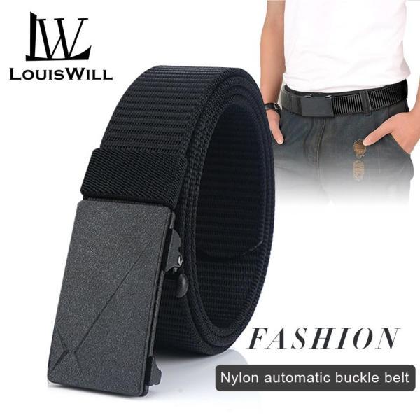 LouisWill Thắt lưng nam chất liệu vải thời trang có khóa tự động nam tính