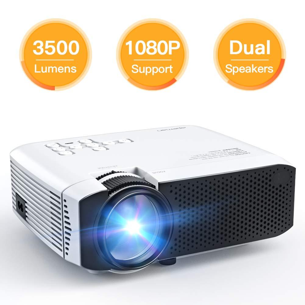 APEMAN Mini Portable Video Projector - 3500 Lumens, LED, with Dual Built-in  Speakers, 1080P, HDMI/VGA/Micro SD/AV/USB, Laptop/TV Box/Phone/PS4, for