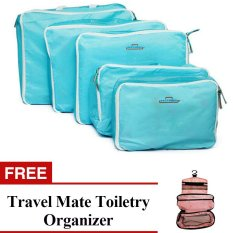 5-in-1 Storage Bag Organizer (Blue) with Free Travel Mate Toiletry