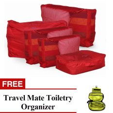 5-in-1 Storage Bag Organizer (Red) with Free Travel Mate Toiletry