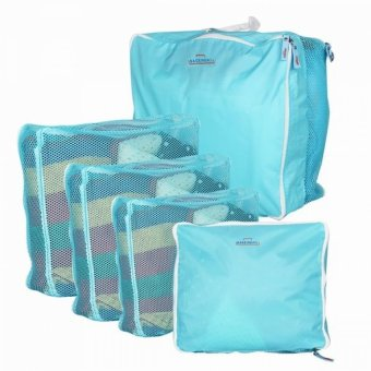 5-in-1 Waterproof Packing Cubes Mesh Pouch (Light Blue)
