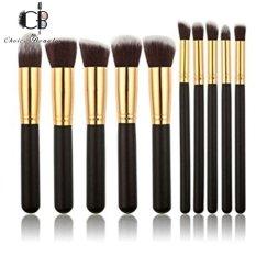10 Pcs Professional Make Up Foundation Blusher Brushes Set (Black&Gold) Philippines