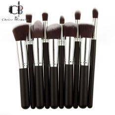 10 Pcs Professional Make Up Foundation Blusher Brushes Set (Black&Silver) Philippines