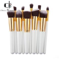 10 Pcs Professional Make Up Foundation Blusher Brushes Set (White&Gold) Philippines