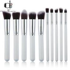 10 Pcs Professional Make Up Foundation Blusher Brushes Set (White&Silver) Philippines