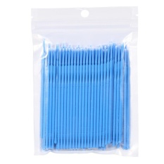 100PCS/Bag Female Micro Disposable Extension Mascara Brush Eyelash Glue Cleaning Stick(Blue) - intl Philippines