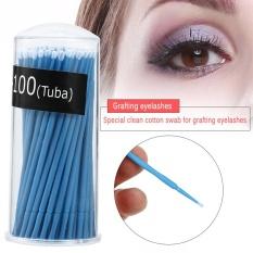 100PCS/Box Disposable Extension Mascara Brush Eyelash Glue Cleaning Stick Blue Large - intl Philippines