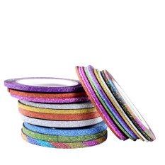 10pcs Nail Polish Glitter Striping Tape Line Nail Art Tips Beauty Decor(Multicolor)-1mm - intl Philippines