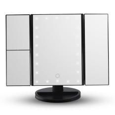 22 LED Light Fold Magnifying Touch Screen Makeup Cosmetic Compact Vanity Mirror #Black - intl Philippines