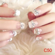 24 Pcs/Set 3D Fake Nails Wedding Bride False Nail Tips - intl Philippines