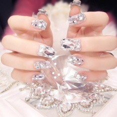 24 Pcs/Set Wedding Bride False Nail Tips Shining Rhinestone Fake Nails with Glue - intl Philippines