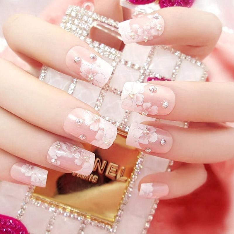 O-New 24pcs/Set Wedding Bride Full Nails Tips Flowers Shining 3D Diamond Rhinestone