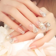 24 Pcs/Set Women Shining Beads Fake Nails with Glue - intl Philippines
