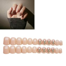 24pcs Acrylic Design False Nude Nails Full Nail Tips Fake Art Cover Manicure - intl Philippines
