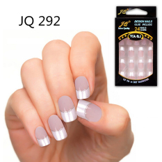 24Pcs Fashion Nail Art Full False Artificial Fake Nails Tips French Style JQ292 - intl Philippines