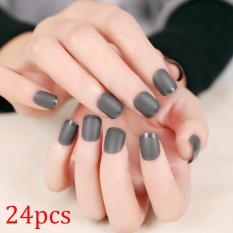 24pcs Grey Fake Nails Acrylic Full Nails Tips for Lady DIY Beauty Manicure - intl Philippines
