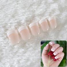 24Pcs Natural French Short False Nails Acrylic Classical Fake Nails With 2g Glue - intl Philippines