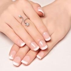 24Pcs Natural French Short False Nails Acrylic Full Artificial Nails Faux Ongles - intl Philippines