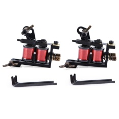 2pcs Black Pig Iron Handmade Tattoo Machine Tools Coils For Liner Shader With Wrenches - intl