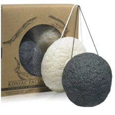 2pcs Larger Size Natural Konjac Facial Sponge for Face Clean Scrub Skin Care Puff Sponge Beauty Tool(Charcoal black+White) Philippines