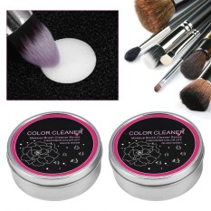 2Pcs Makeup Brush Powder Cleaner Eyeshadow Brushes Color Removal Sponge Double Layer Sponge Box - intl Philippines