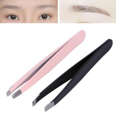 2Pcs/Set Stainless Steel Eyebrow Tweezers Facial Hair Removal Clips Makeup Beauty Tool - intl Philippines