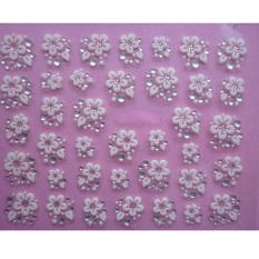 3D Nail Art Lace Stickers Decals Transfers WHITE SILVER Flowers Rhineston - intl Philippines