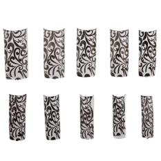 50 Charming Clear Black Floral Design French Acrylic False Nail Art Tips NEW (Intl) Philippines