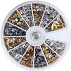 600 pcs 3D Design Nail Art Different Metallic Studs Gold & Silver Stud Wheel Manicure  - Intl Philippines