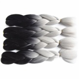 60cm Braiding Synthetic Jumbo Box Braids Black Gray Purple Blue Green Blonde Brown Crochet Hair Extensions - intl image