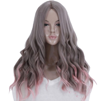 65cm Women's Long Wavy Curly Hair Extensions Wig for Masquerade Party Halloween Christmas Cosplay Costume Wigs,Gray Pink Ombre Hair