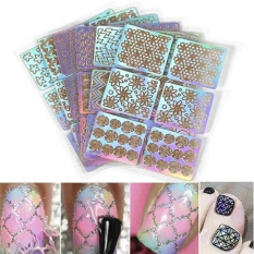 6pcs Nail Art Hollow Out Sticker Stencil Polish Gel 3D Printing Image Decals - intl Philippines
