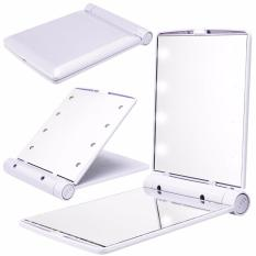 8 LED Vanity Mirror Compact Portable Cosmetic Mini Makeup Mirror (White) Philippines