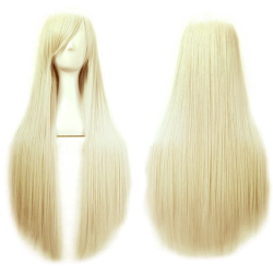 80 cm Cosplay Long Straight Hair Extensions Wig for Masquerade Party Halloween Christmas White