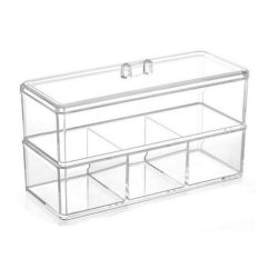 Acrylic Clear Square Multifunction Two-tier Storage Box Makeup Organizer Cosmetic Case-Transparent Philippines