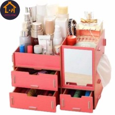 Adventurers Wooden Cosmetic Make Up Jewelry Box Storage Organizer with Mirror and 3 Drawers (Peach Pink) Philippines