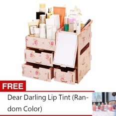 Adventurers Wooden Cosmetic Make Up Jewelry Box Storage Organizer with Mirror and 3 Drawers (Pink Flower) Free Dear Darling Lip Tint (Random Color) Philippines