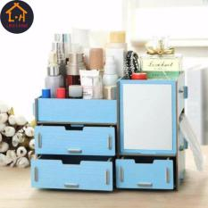 Adventurers Wooden Cosmetic Make Up Jewelry Box Storage Organizer with Mirror and 3 Drawers  (Blue) Philippines