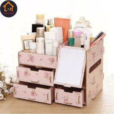Adventurers Wooden Cosmetic Make Up Jewelry Box Storage Organizer with Mirror and 3 Drawers  (Pink Flower) Philippines