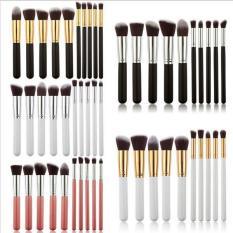 Ai Home 10Pcs Makeup Brush Set Cosmetic Blending Pencil Brushes Pink&Silver