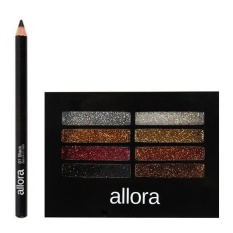 Allora Glitter Creme Eyeshadow Palette 2g (Boom Boom) with  Allora Automatic Pencil Eyeliner (Black) Bundle Philippines